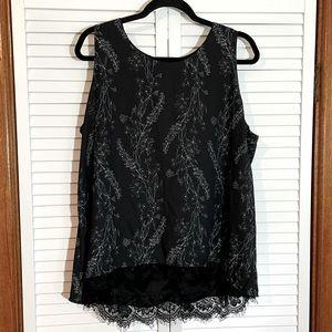 Worthington Black Floral Lace Sleeveless Top  PXXL